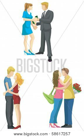 Loving Couple Sketch In Modern Fashionable Style Set 2 (vector)
