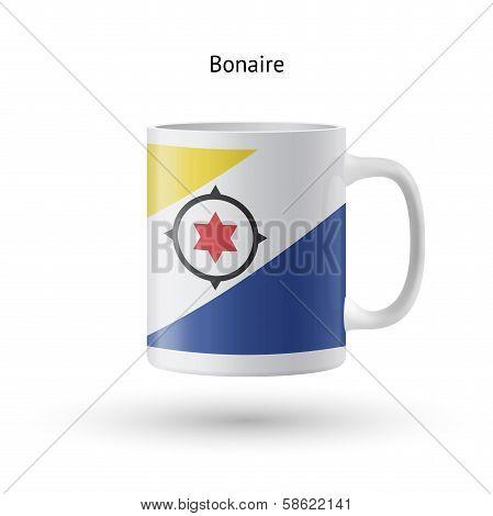 Bonaire flag souvenir mug on white background.