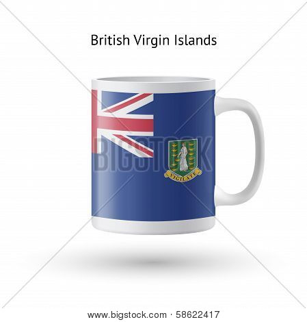British Virgin Islands flag souvenir mug on white background.
