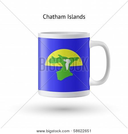 Chatham Islands flag souvenir mug on white background.