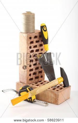 Bricks, Trowel And Hammer