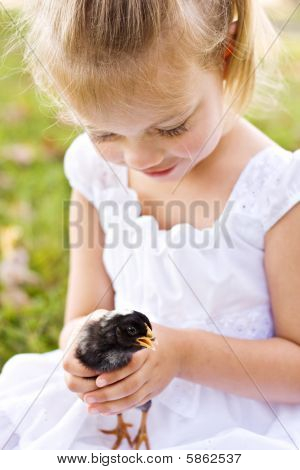 Child holding a little chick
