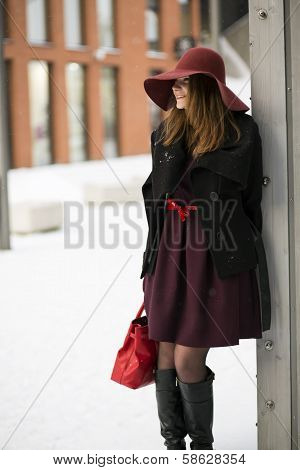 Woman At Winter Day With Red Purse