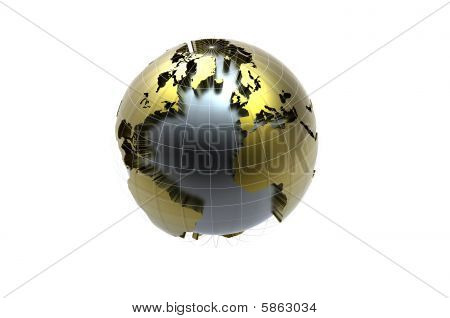Golden globe On White Background