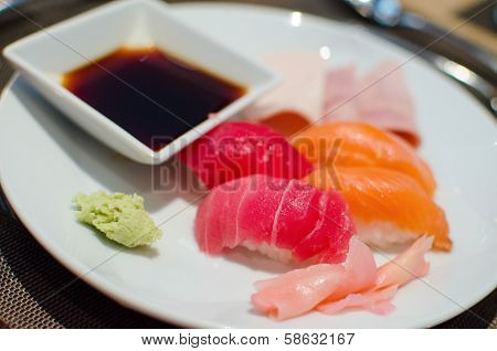 Fresh Seafood Sashimi And Sushi In Restaurant