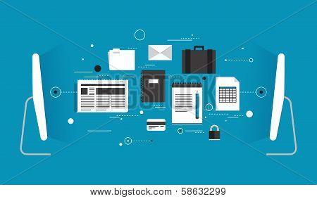 Data Transfer Flat Illustration