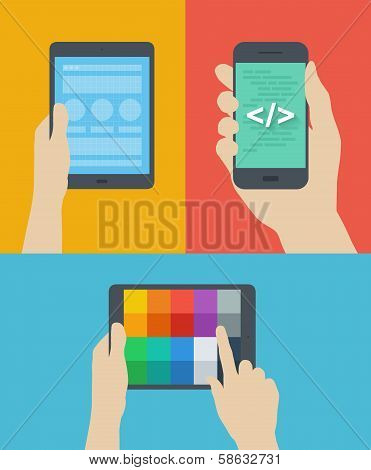 Mobile Web Design Flat Illustration