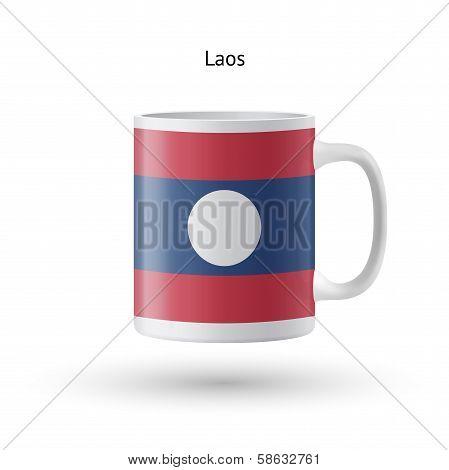Laos flag souvenir mug on white background.