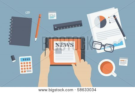 Manager Reading News Flat Illustration
