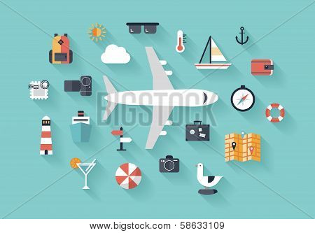 Air Trip Flat Illustration Concept