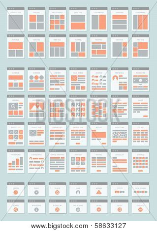 Website Sitemaps Flat Icons Set