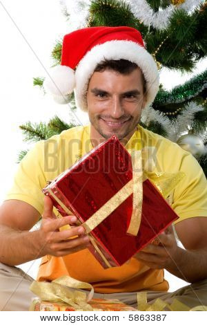 Cute Man With Christmas Gift