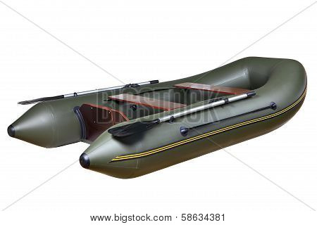 Inflatable Rubber Boat Made Of Pvc, Two-seat, Twin, With Oars.
