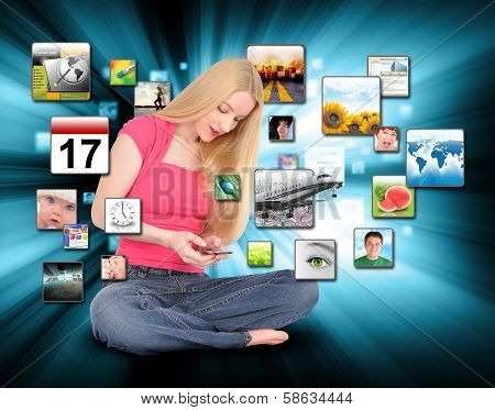 Woman Using Smart Phone With Apps