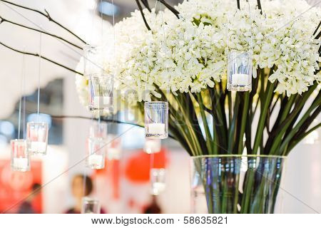 Beautiful Flower And Candle Arrangement For Wedding Or Event Party.