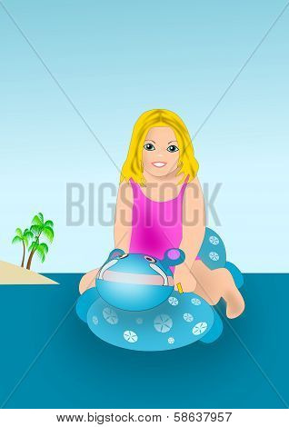 Girl with Swimming Toy.