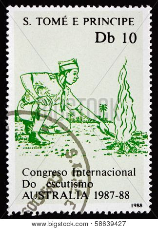 Postage Stamp Sao Tome And Principe 1988 Campfire, Boy Scout Jam