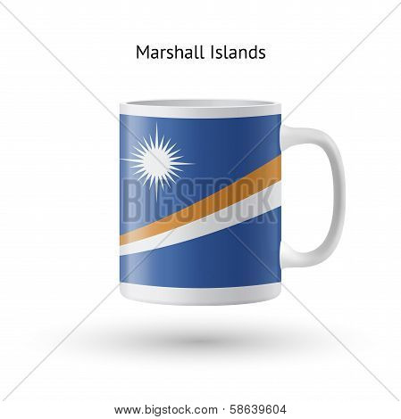 Marshall Islands flag souvenir mug on white background.