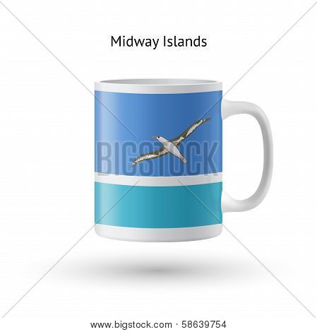Midway Islands flag souvenir mug on white background.