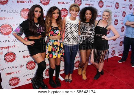 Bella Thorne with Little Mix, Jesy Nelson, Leigh-Anne Pinnock, Perrie Edwards, Jade Thirwall at Teen Vogue's Back-To-School Saturday Kick-Off Event, The Grove, Los Angeles, CA 08-09-13