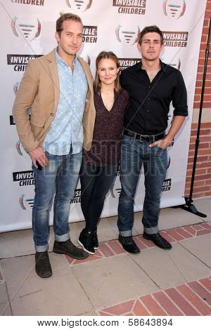 Ryan Hansen, Kristen Bell and Chris Lowell at the Invisible Children Fourth Estate's Founders Party, UCLA, Westwood, CA 08-10-13