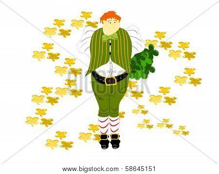 leprechaun lareg open gold clover
