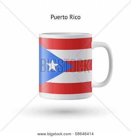 Puerto Rico flag souvenir mug on white background.
