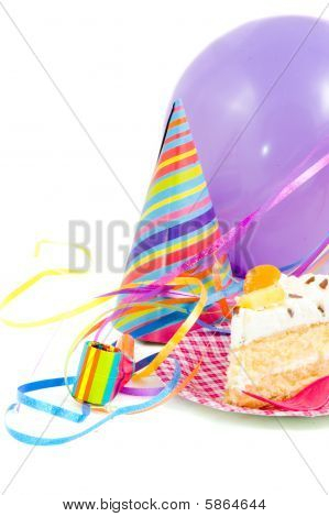 Birthdaycake With Balloon And Streamers