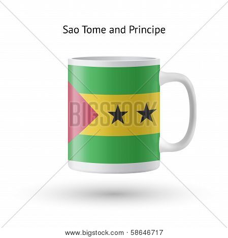 Sao Tome and Principe flag souvenir mug on white background.