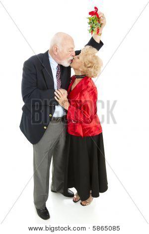 Romantic Seniors Under Mistletoe