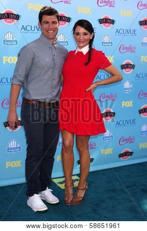 Max Greenfield and wife Tess Sanchez at the 2013 Teen Choice Awards Arrivals, Gibson Amphitheatre, Universal City, CA 08-11-13