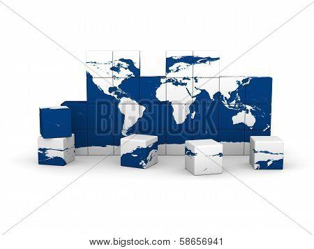 World Map Made Of Blocks