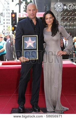 Vin Diesel, Michelle Rodriguez at the Vin Diesel Star on the Hollywood Walk of Fame Ceremony, Hollywood, CA 08-26-13