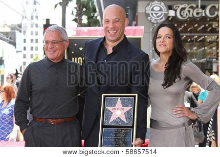 Ron Meyer, Vin Diesel, Michelle Rodriguez at the Vin Diesel Star on the Hollywood Walk of Fame Ceremony, Hollywood, CA 08-26-13