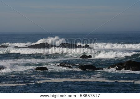 Pacific Ocean Horizon Waves Rocks California