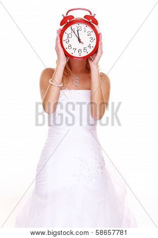 Wedding Time. Portrait Bride With Clock Covering Her Face.