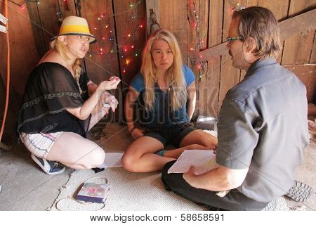 Jennifer Blanc-Biehn, Evie Thompson, Michael Biehn on the set of