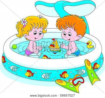Children in a kids pool