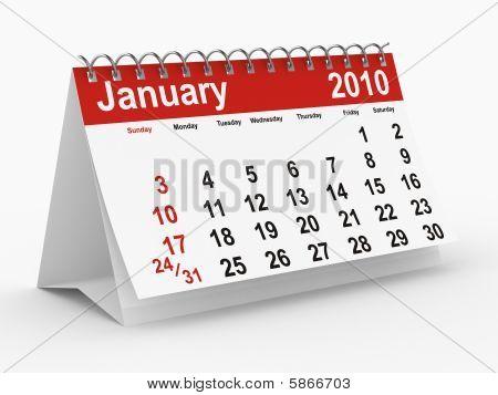 2010 Year Calendar. January. Isolated 3D Image