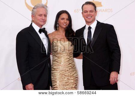 Michael Douglas, Luciana Barroso and Matt Damon at the 65th Annual Primetime Emmy Awards Arrivals, Nokia Theater, Los Angeles, CA 09-22-13