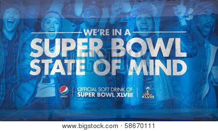 Pepsi Official Soft Drink of Super Bowl XLVIII billboard on Broadway during Super Bowl XLVIII week