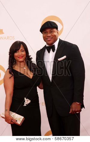 LL Cool J and Simone Johnson at the 65th Annual Primetime Emmy Awards Arrivals, Nokia Theater, Los Angeles, CA 09-22-13