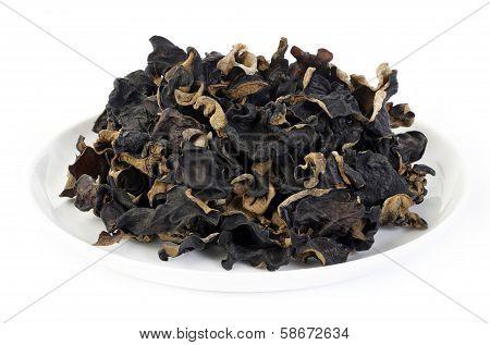 Black Fungus (jew's Ear Mushroom ) On White Background