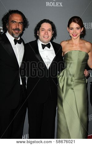 Alejandro Gonzalez Inarritu, Gustavo Dudamel and Eloisa Knife Maturen at the Walt Disney Concert Hall 10th Anniversary Celebration, Walt Disney Concert Hall, Los Angeles, CA 09-30-13