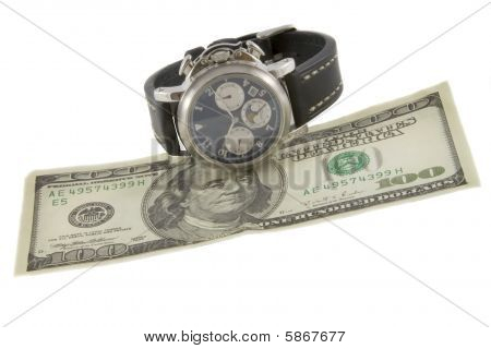 Time Is Money. Watch And Hundred Dollars Banknote