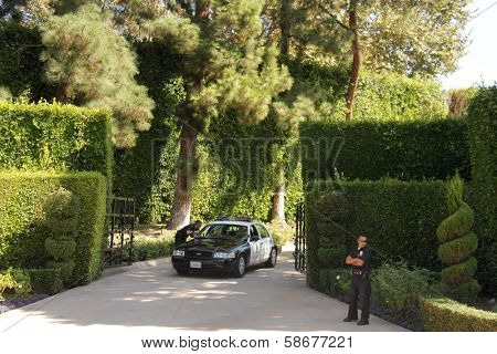 Police at a protest involving Casey Kasem's children, brother and friends who want to see him but have been denied any contact,  Private Location, Holmby Hills, CA 10-01-13