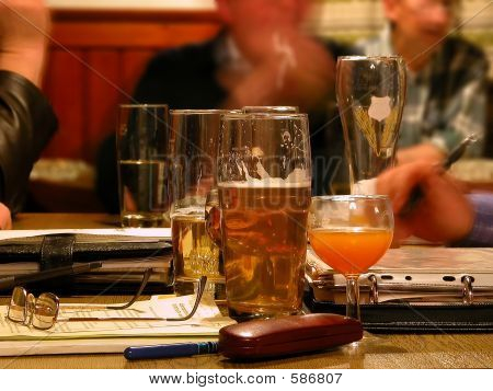 Beer Glasses On A Table