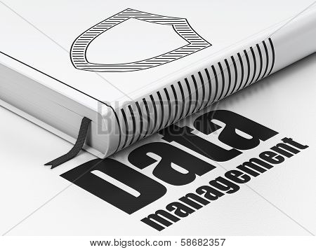 Data concept: book Contoured Shield, Data Management on white background