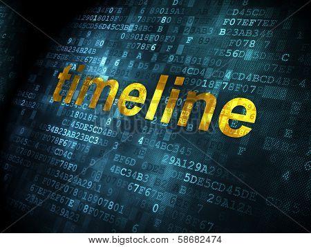 Timeline concept: Timeline on digital background