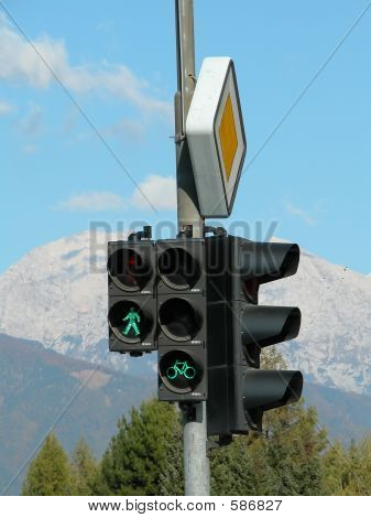 Green Traffic Light With Alps